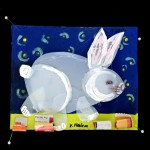 Little Bunny Taking a Night Walk - Mixed media and recycled materials